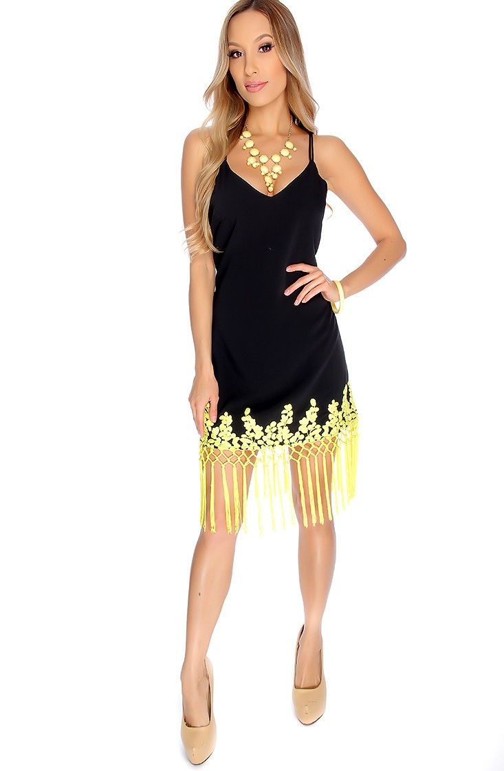 Sexy Black Yellow Strappy Sleeveless Open Back Two Tone Fringe V-Cut ...