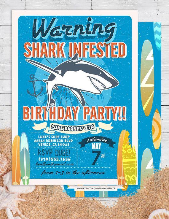 Shark invitation Pool Party Invitation surfer by LyonsPrints - birthday invitation pool party