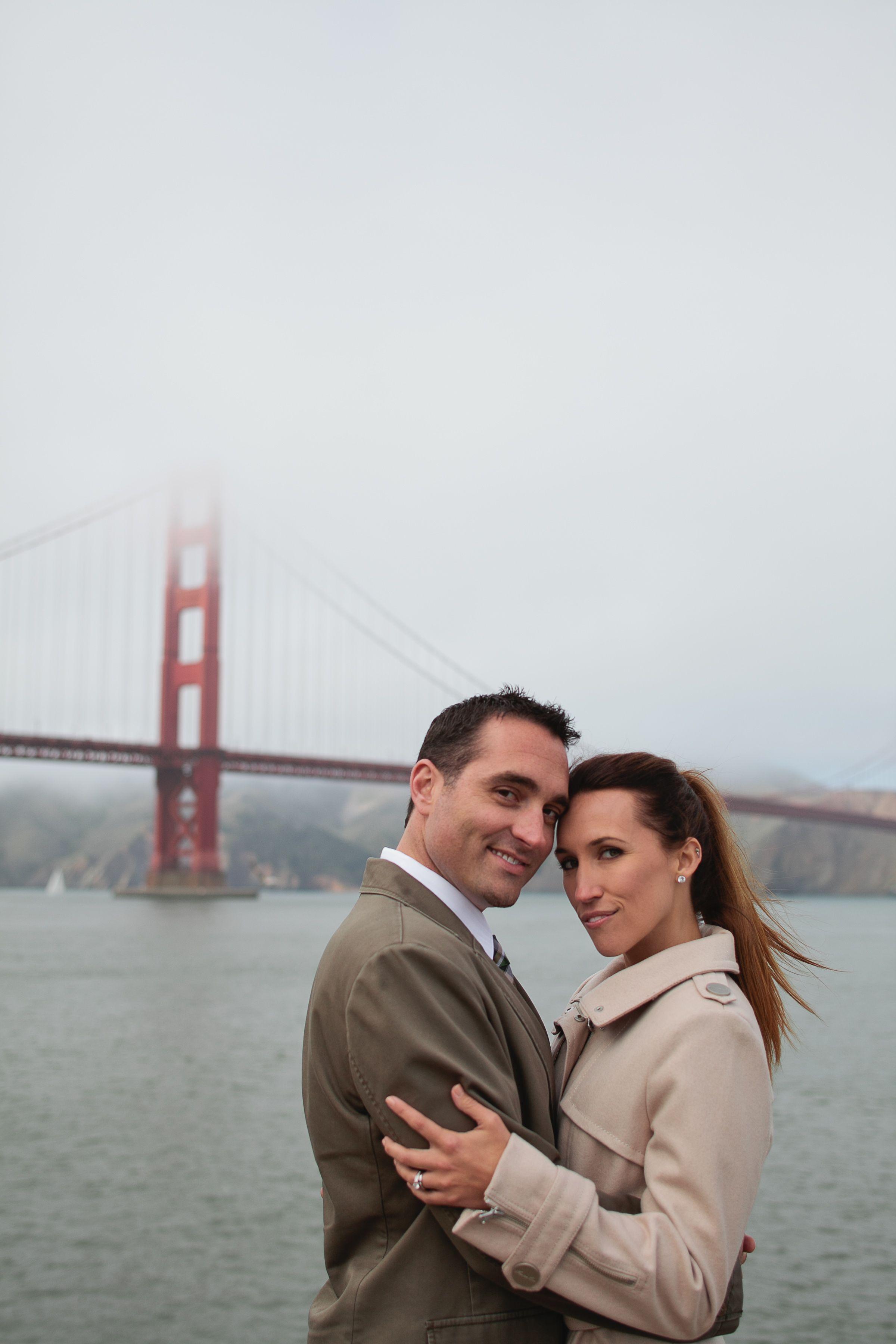 San Francisco fog Golden Gate Bridge elopement wedding photo