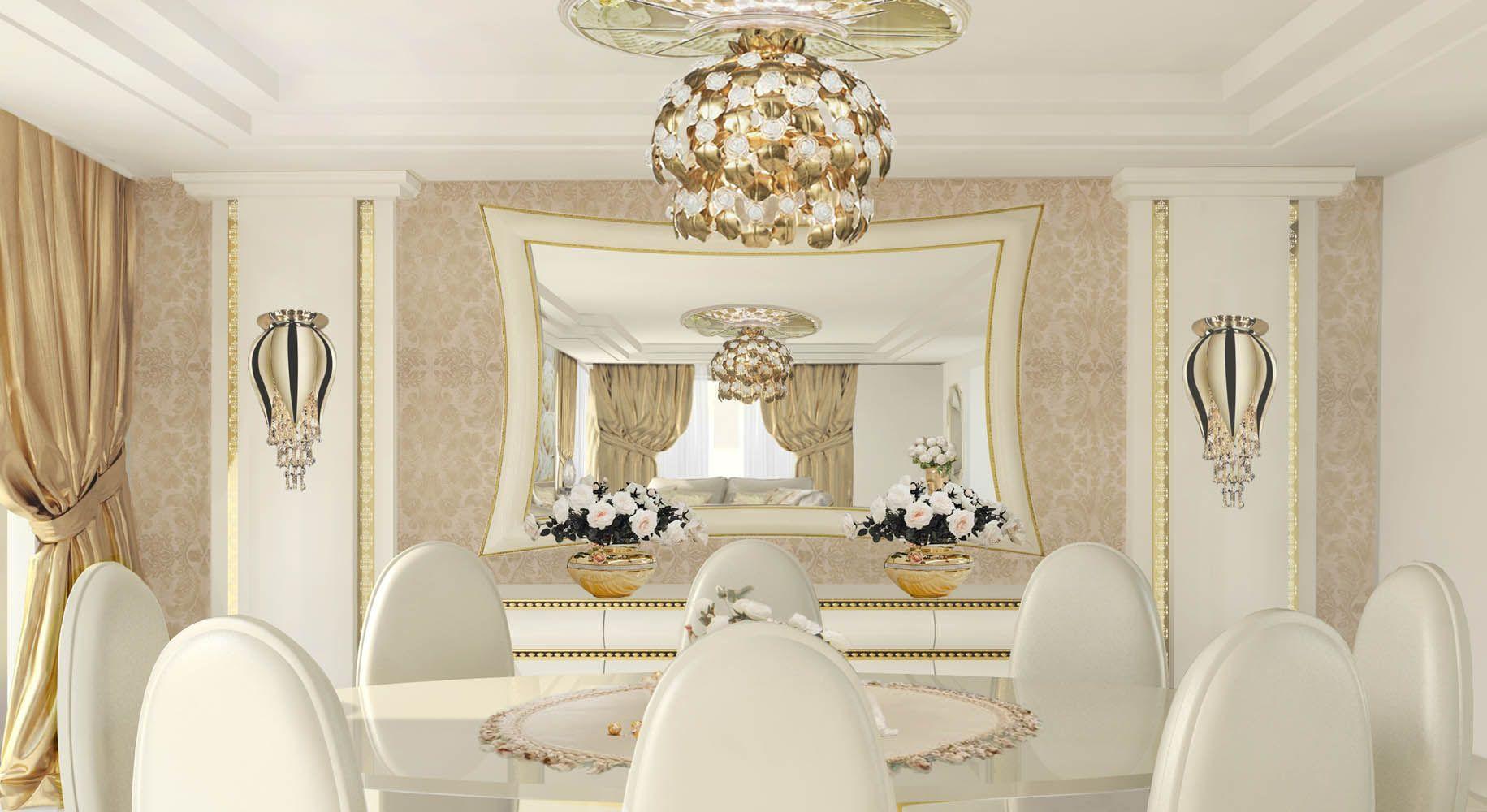 Lidia Bersani Luxury Interior Design white and golden mirror