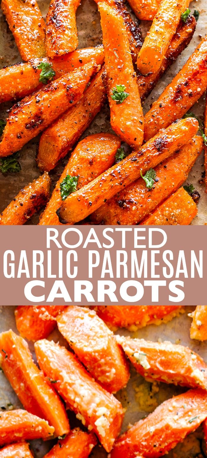 Roasted Garlic Parmesan Carrots - Roasted carrots tossed with a delicious garlicky and buttery parmesan cheese coating. #carrots #cheese #sidedishrecipes