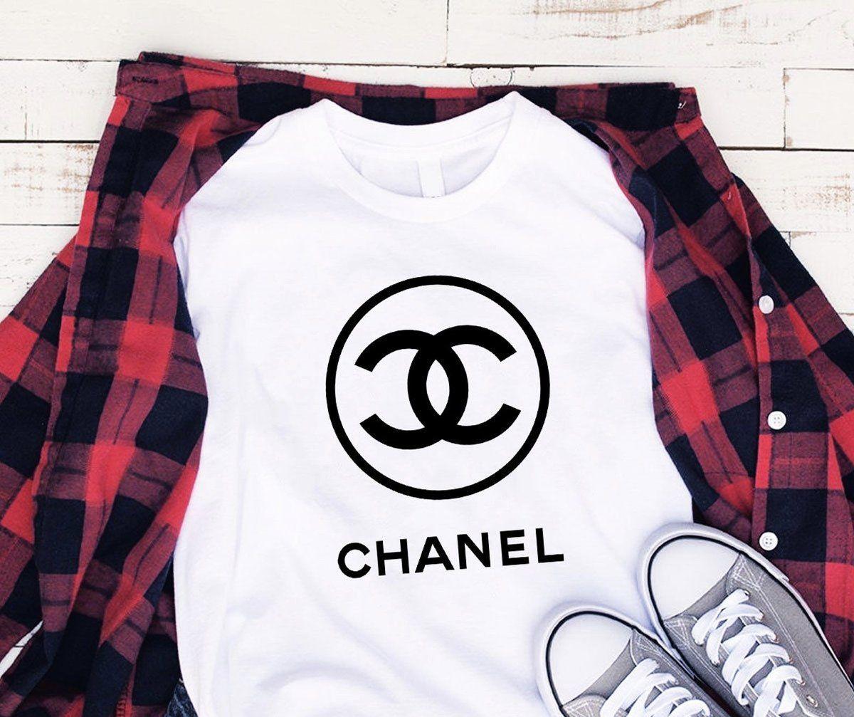 Chanel Logo White With Black Print TShirt Hip Unisex