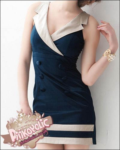 Double breasted navy dress [PHC6118] - £14.00 : Pinkoholic, Asian Fashion Gateway