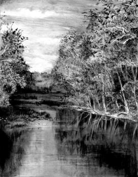 How To Draw A Realistic River By Catlucker Realistic Pencil Drawings Landscape Art Lessons Landscape Drawings