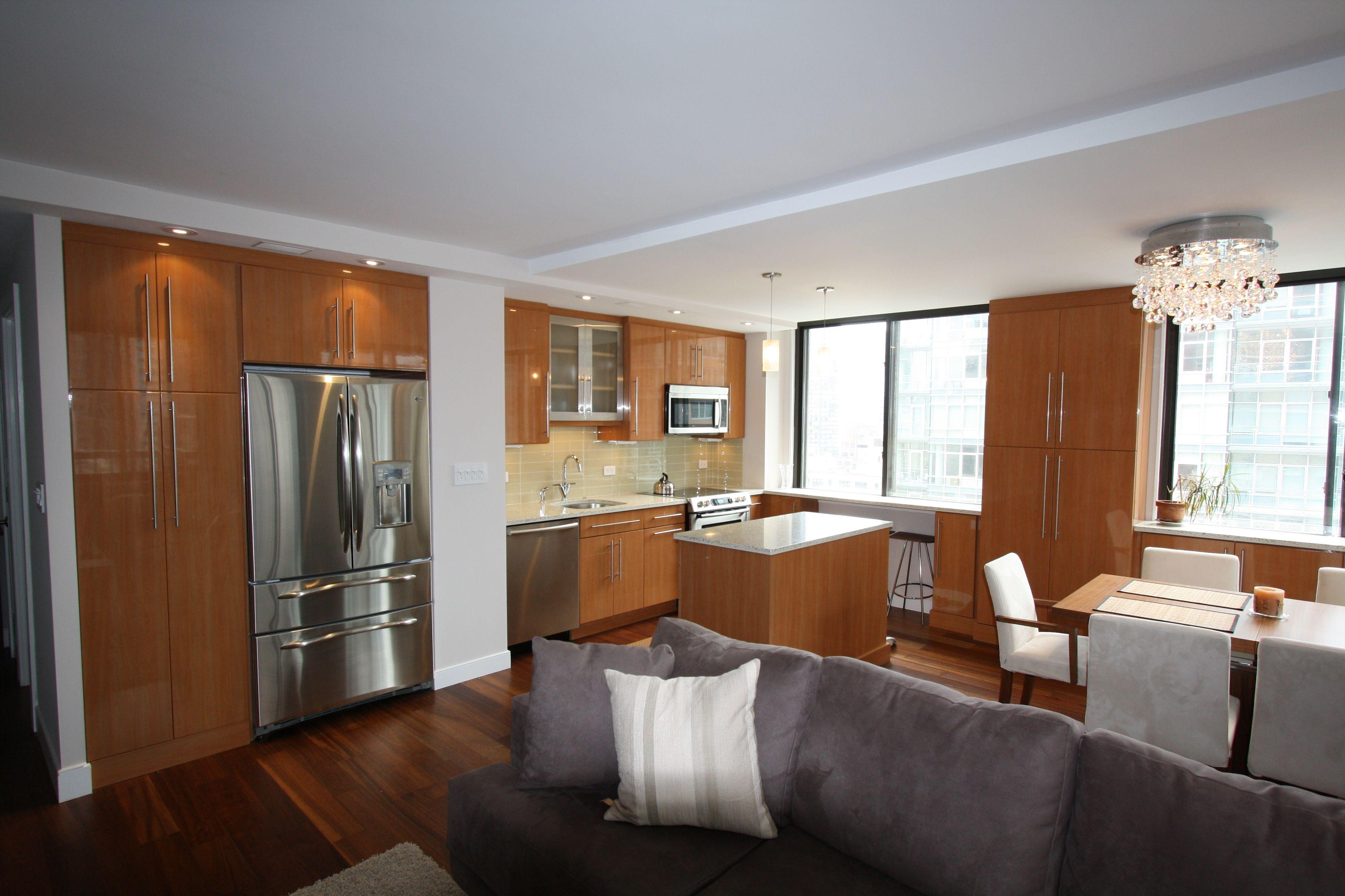 Manhattan ny modern kitchen dining room living room combo high gloss