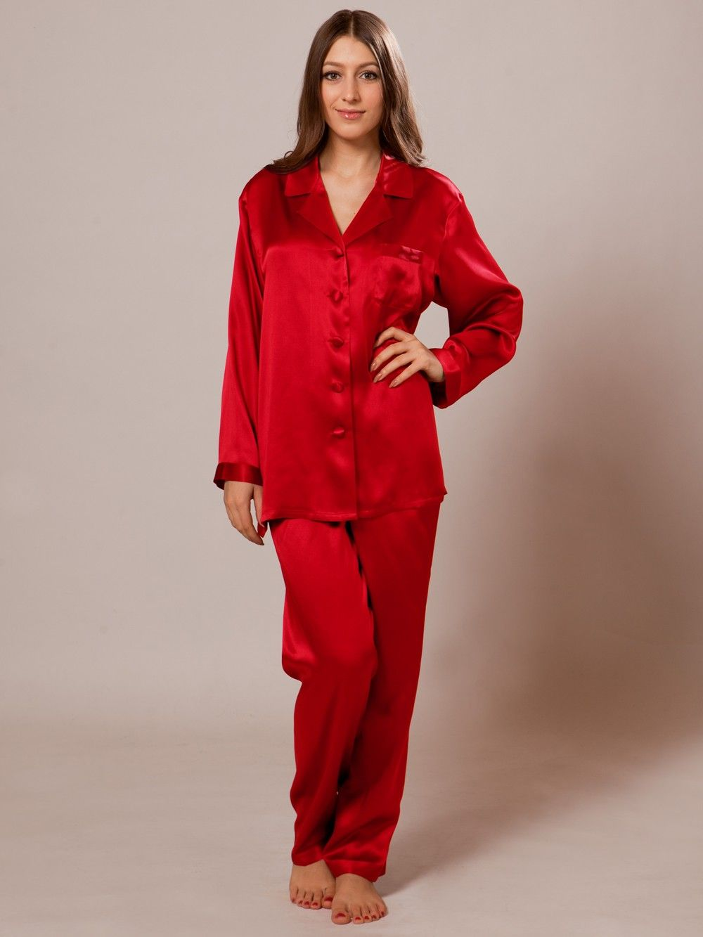 6f7e8ab95510 Shop cherry red silk pajama set with long sleeves for summer online. Made  of 22 mm 100% Mulberry silk.