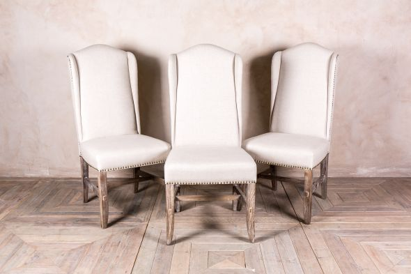 Cream Studded Dining Chair Upholstered In Neutral Linen Oak Chairs