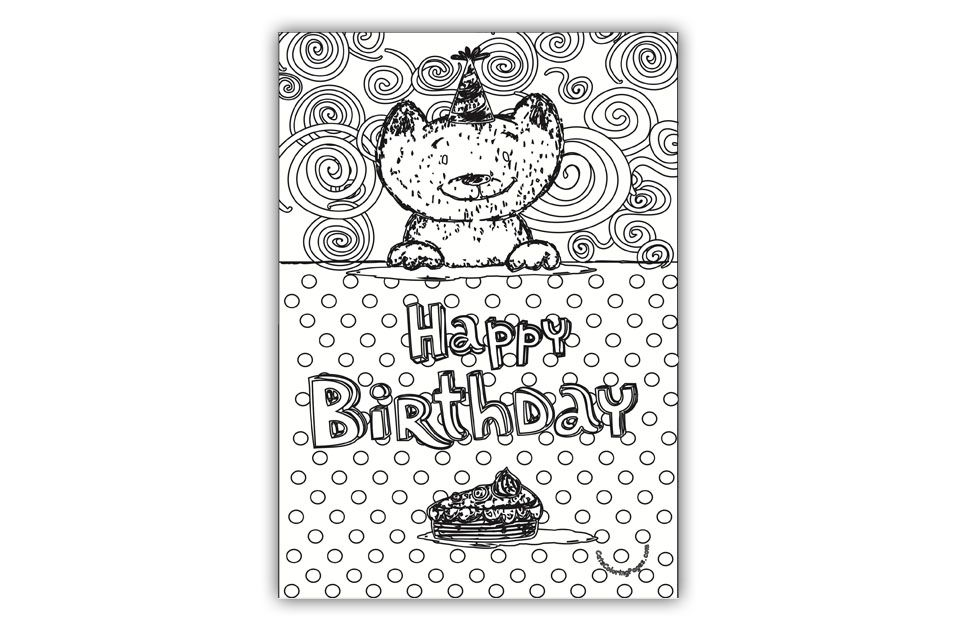 Kitten Happy Birthday Card Coloring Page Happy Birthday Cards