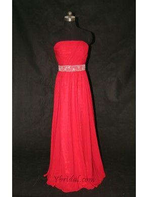 A-Line Strapless Floor-Length Chiffon Evening Dress SAL0441
