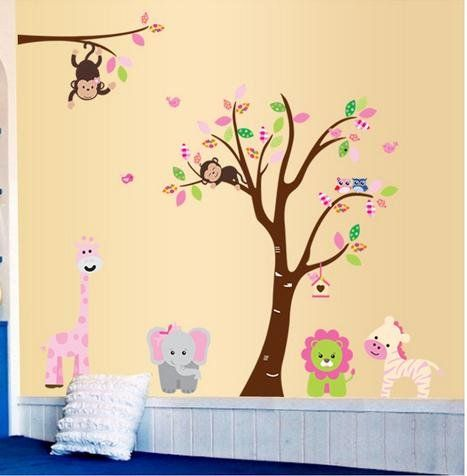 Fungoo large colorful tree & jungle animals wall sticker nursery ...