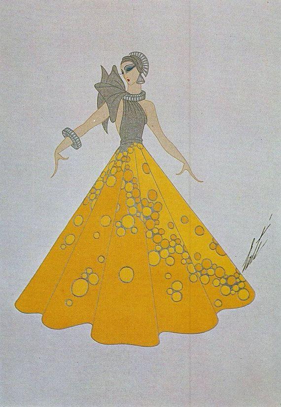 Erte' Print, Art Deco Print-Erte' Romain de Tirtoff Dress Design Art Deco Print/Plate