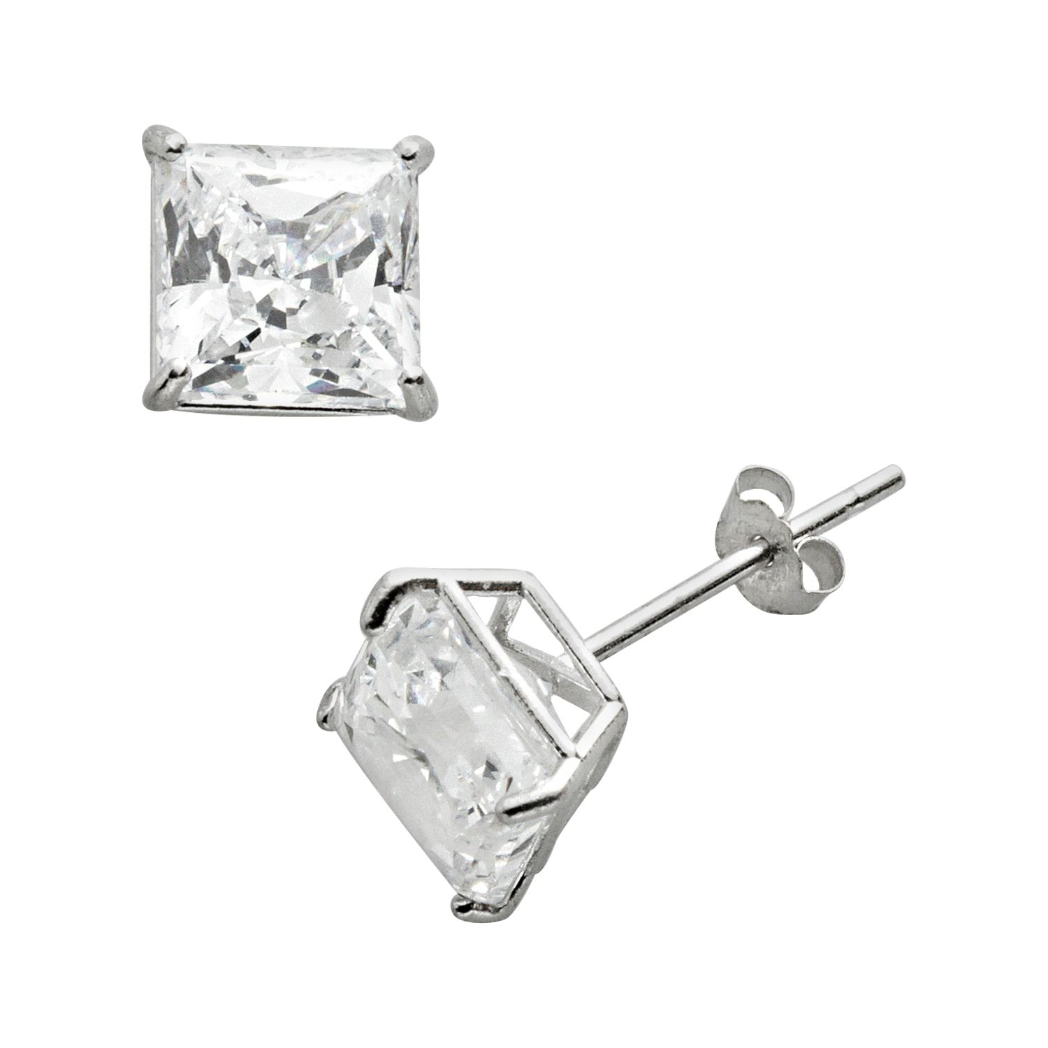 Renaissance Collection 10k White Gold 1 4 5 Ct T W Cubic Zirconia Stud Earrings Made With Swarovsk White Gold Studs White Gold Earrings Studs Stud Earrings