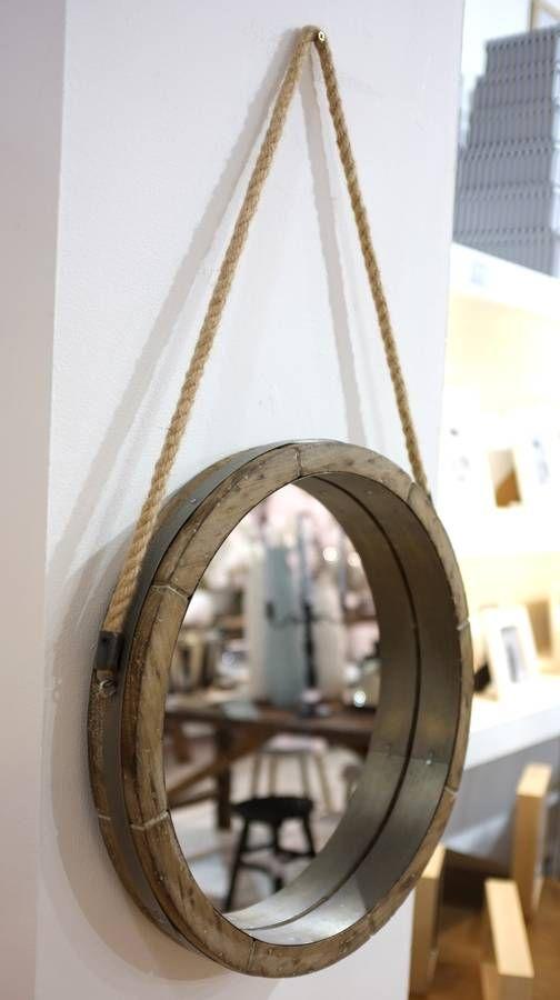 Reclaimed Barrel Lid Rope Mirror, Rope Hanging Vanity Mirror