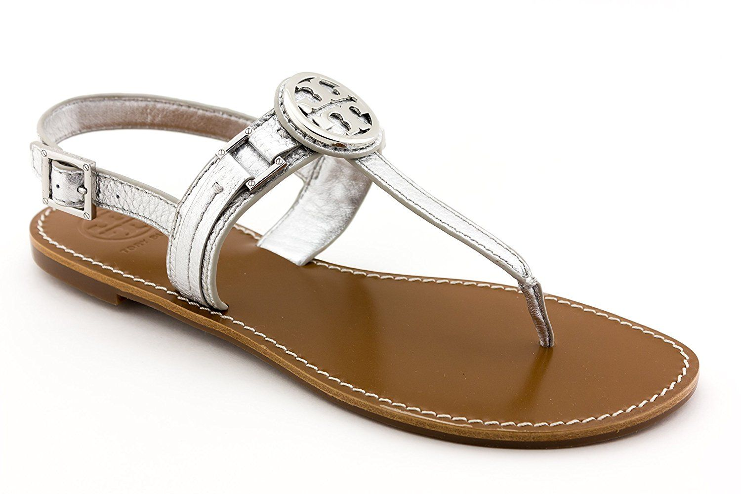 41c617d6d7e823 Tory Burch Flat Thong Sandal Cassia Leather Flip Flop TB Logo French Calf  Silver 9.5