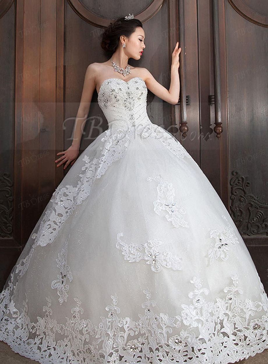 Ball gown sweetheart beading appliques wedding dress pinterest