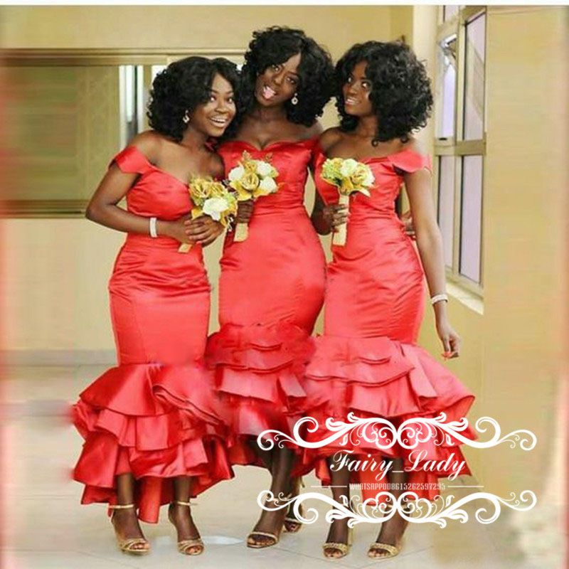 0e5e170a6bd Ruffles Mermaid Bridesmaid Dresses Country Long 2018 Sexy Off Shoulder  African Black Girls Ankle Length Maid Of Honor Dress Formal Party