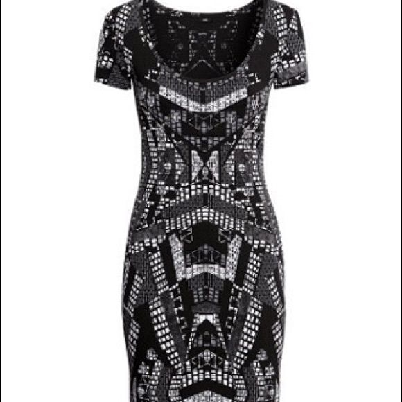 c009c0e8fc3d H&M Fitted Jersey Bodycon Dress Black Print NWOT H&M Fitted Jersey Black  Printed Dress Size Small. This Item is New With Out Tags.