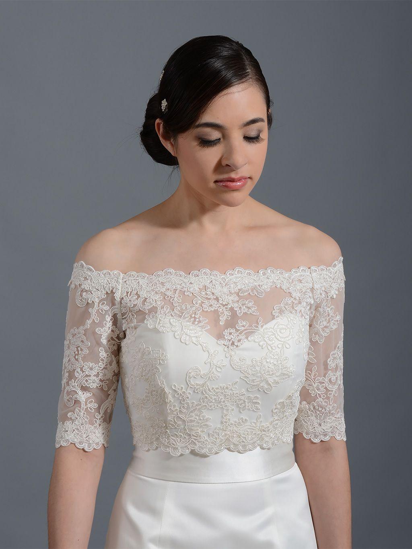 2870040872f Off-Shoulder Illusion Lace Bolero Wedding jacket WJ003