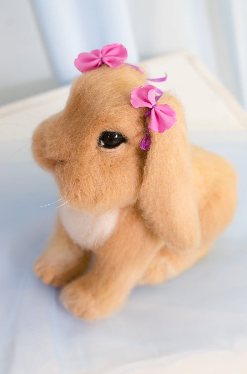 Needle felted bunny, needle felted animal, Easter rabbit #needlefeltedbunny