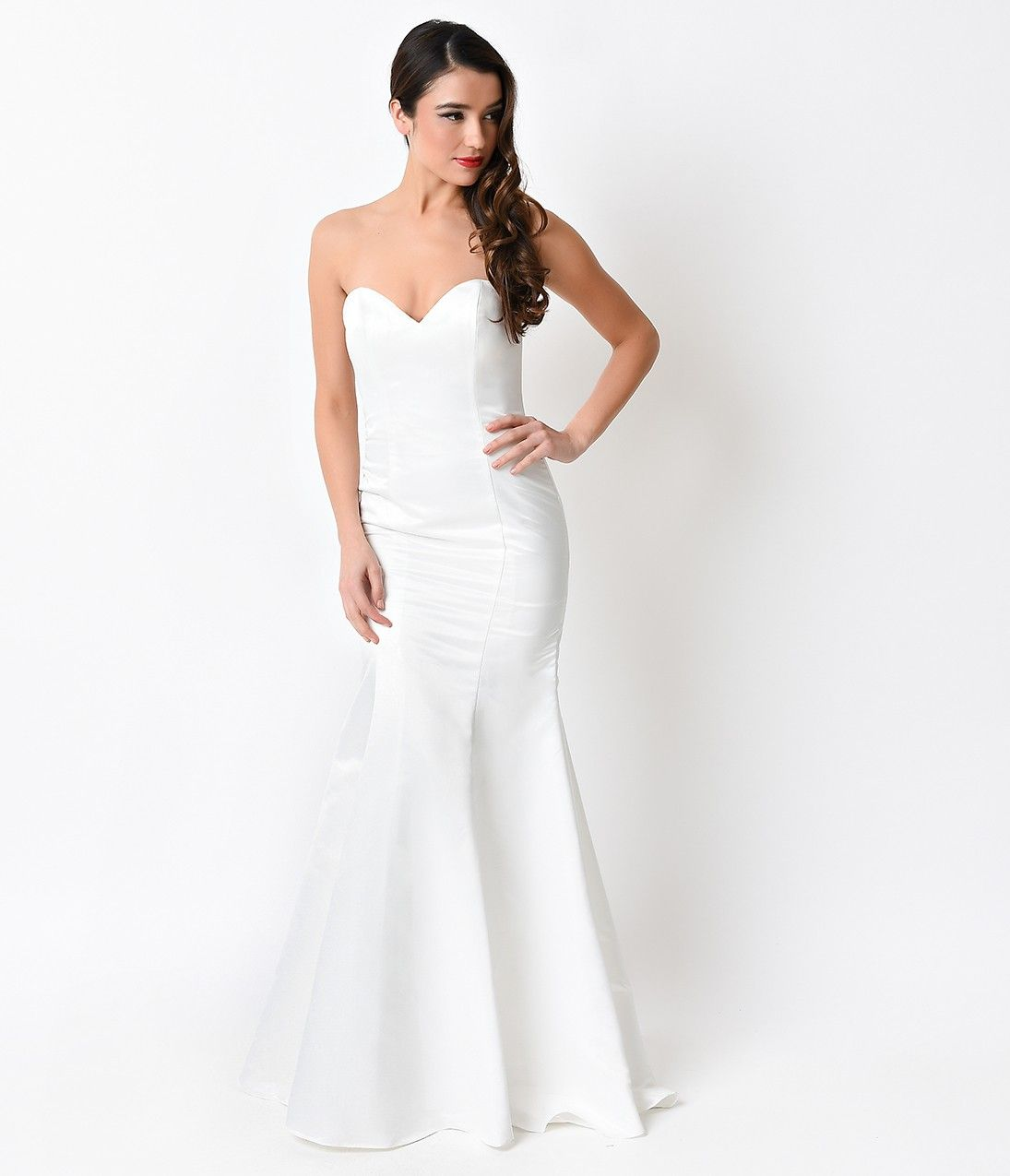 Off white strapless satin sweetheart fitted long mermaid gown