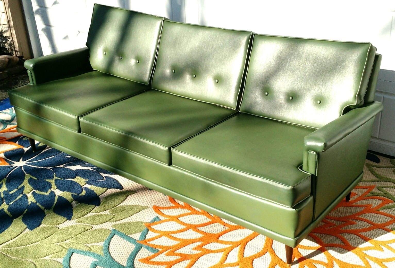 Vintage Mid Century Modern 60 S Flexsteel Green Naugahyde Vinyl Couch Sofa Sofa Couch Danish Modern Couch Couch
