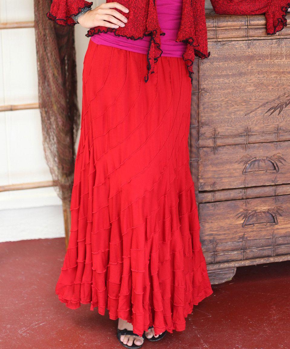 Loving this baik baik red ruffle maxi skirt on zulily zulilyfinds