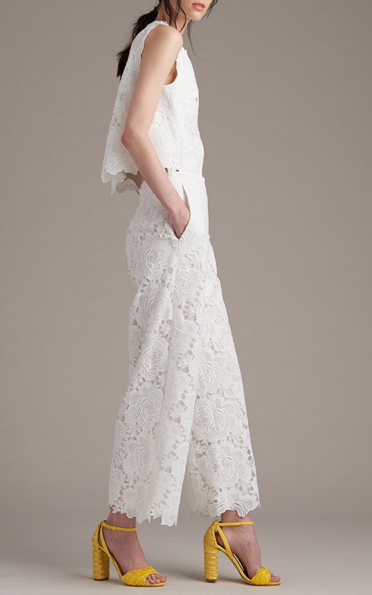 Open Back Guipure Lace Jumpsuit by Monique Lhuillier for Preorder on Moda Operandi