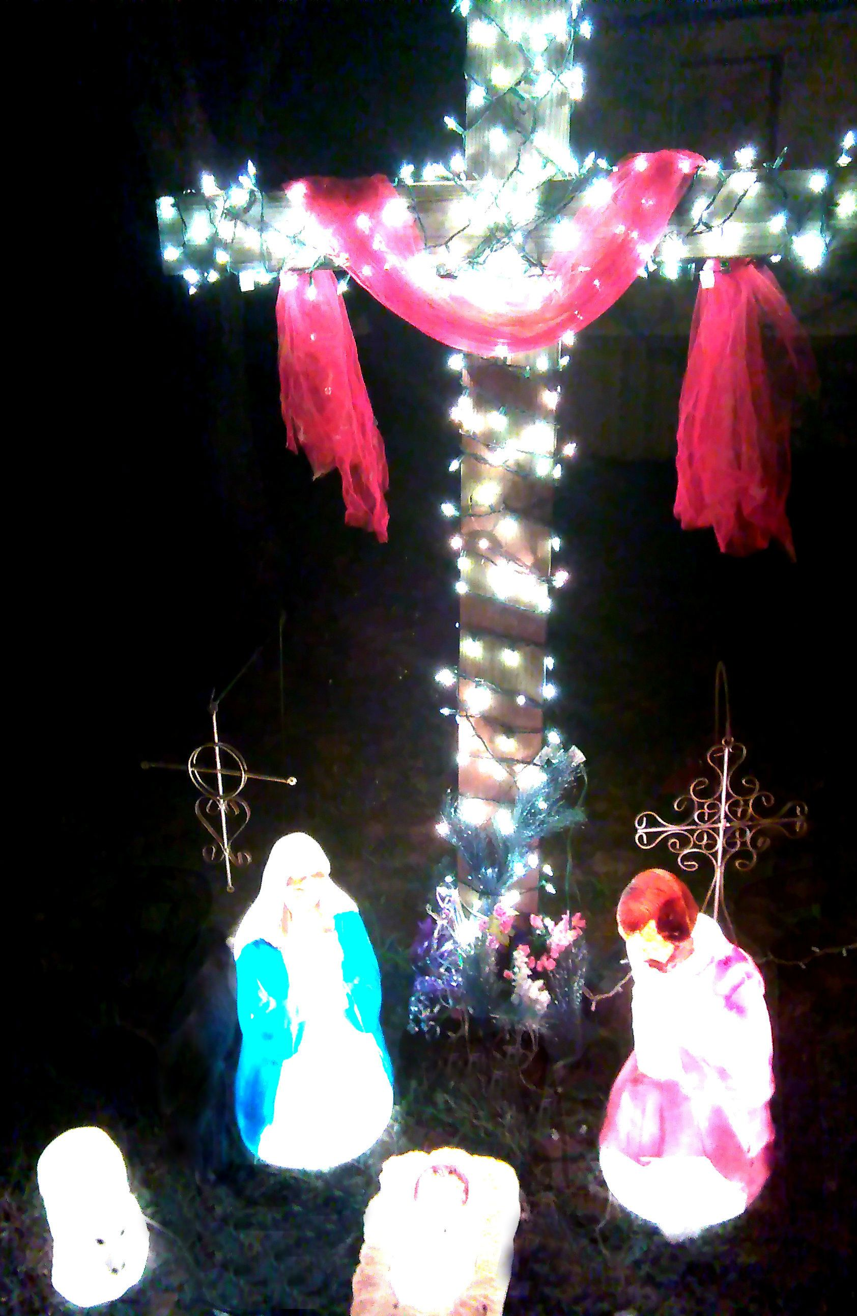 Outdoor christmas lights blow mold nativity with lighted cross outdoor christmas lights blow mold nativity with lighted cross aloadofball Image collections