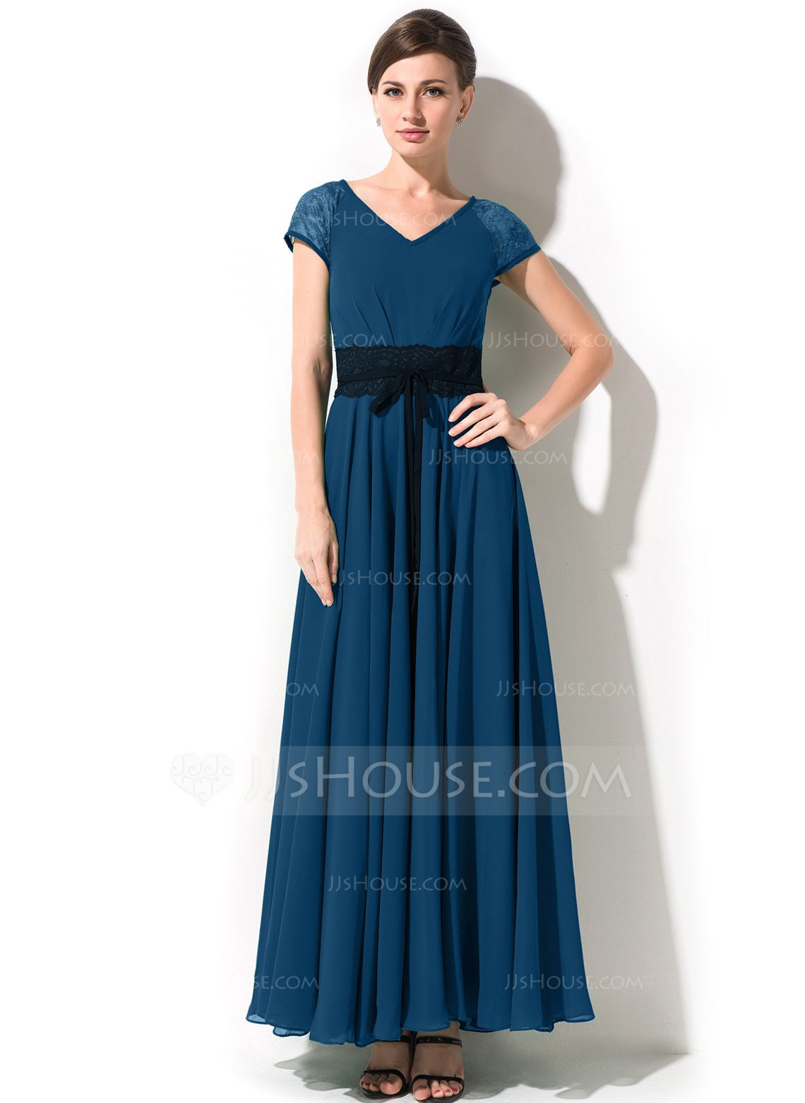 9167ede9b73 A-Line Princess V-neck Ankle-Length Chiffon Mother of the Bride Dress With  Bow(s) (008042825) - Mother of the Bride Dresses - JJsHouse