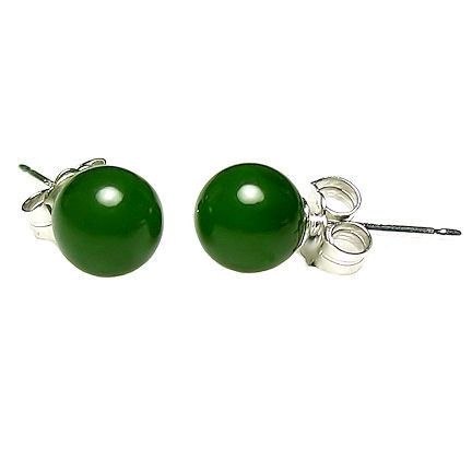 Sterling silver studs 6 mm gemstone jewellery Nephrite Jade earrings