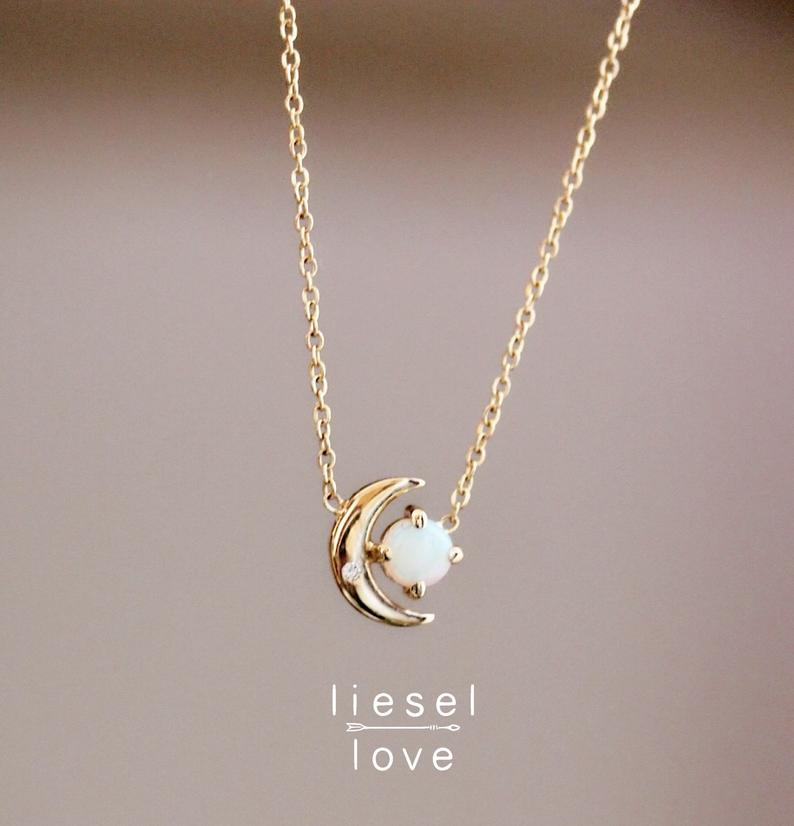 """Photo of 14K Opal Diamond Moon Necklace, """"Moon of My Life"""" Necklace, Opal Necklace, Dainty Jewelry, Astrology Jewelry, October Birthstone, Solid Gold"""