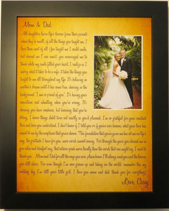 Parents Wedding Gift Personalized From Bride Custom Photo Mat Any Message Poem Words Groom Parents Thank You Gift Picture X Unique