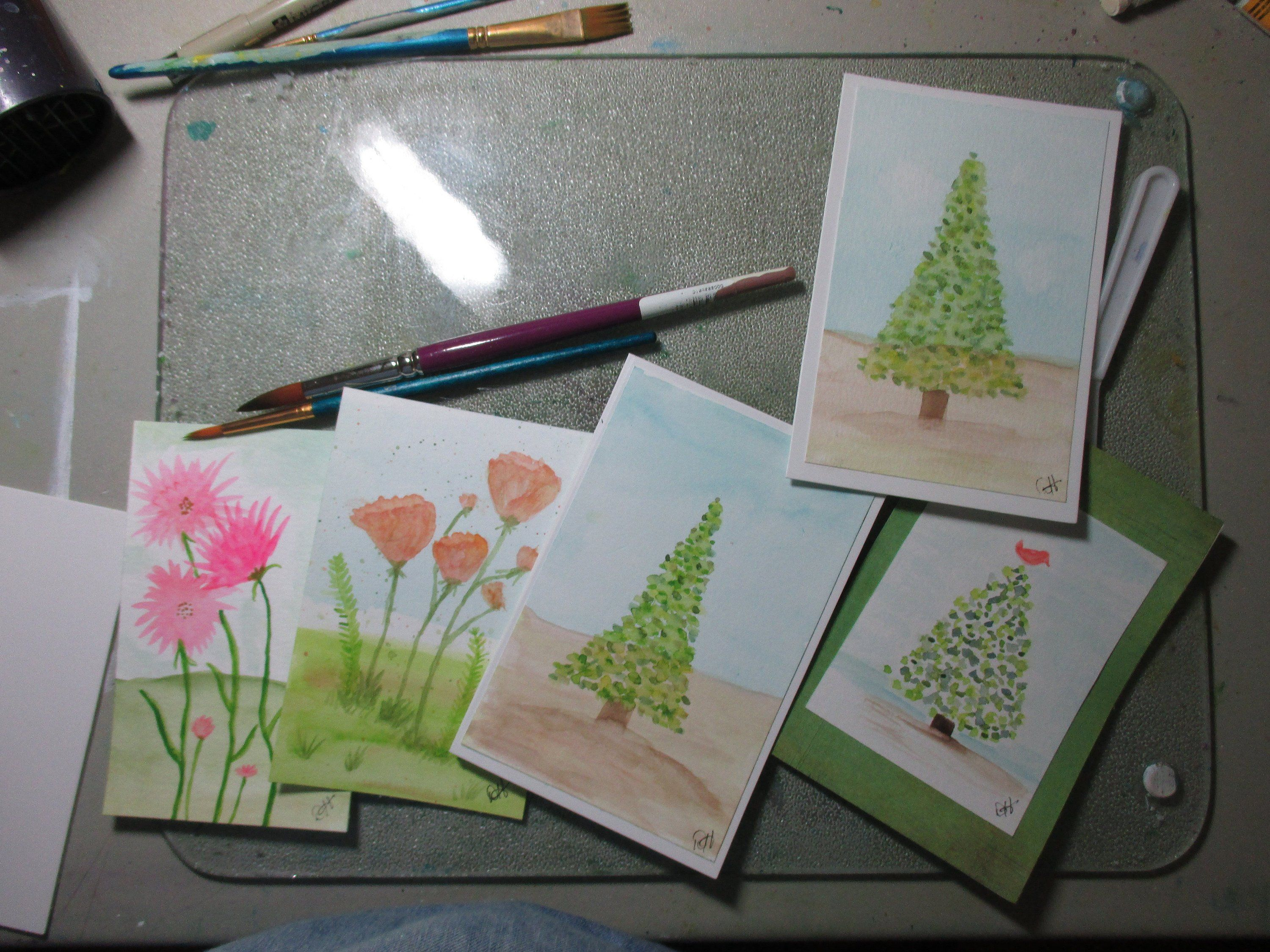 Still Painting Greeting Cards For The Craft Sell Christmas Shopsmall Watercolors Check Out My Shops During Cyber Week Gifts And Decorations