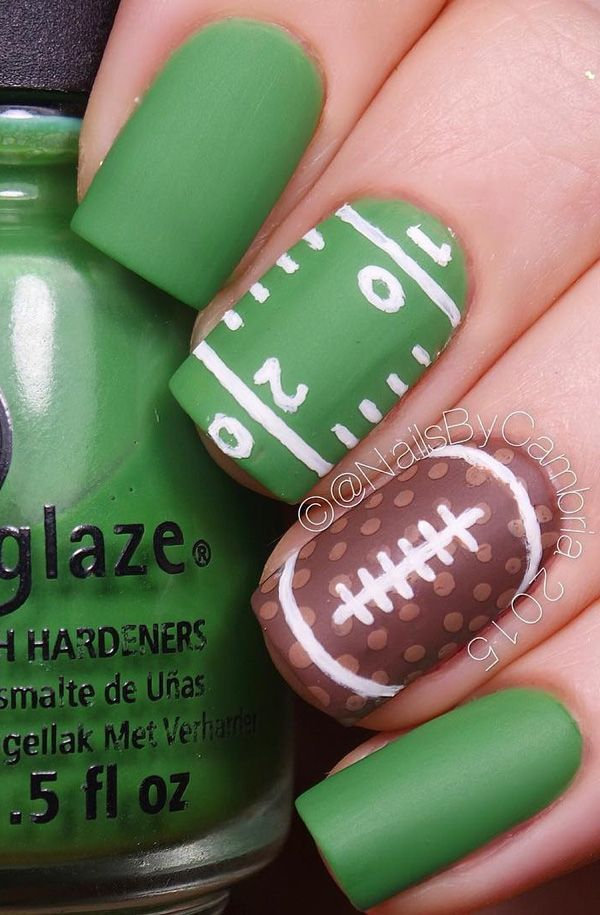 And if the fields you are thinking of are football fields, it still counts.  Here's a matte football design for fans out there. - 45 Refreshing Green Nail Art Ideas !♥ Nail Designs Gallery