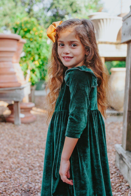 9e08cb8bfe5 Joy Dress    Vintage inspired little girls green velvet dress
