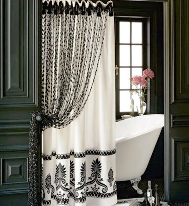 Bathroom Wonderful Black And White Double Shower Curtain For 60 ...
