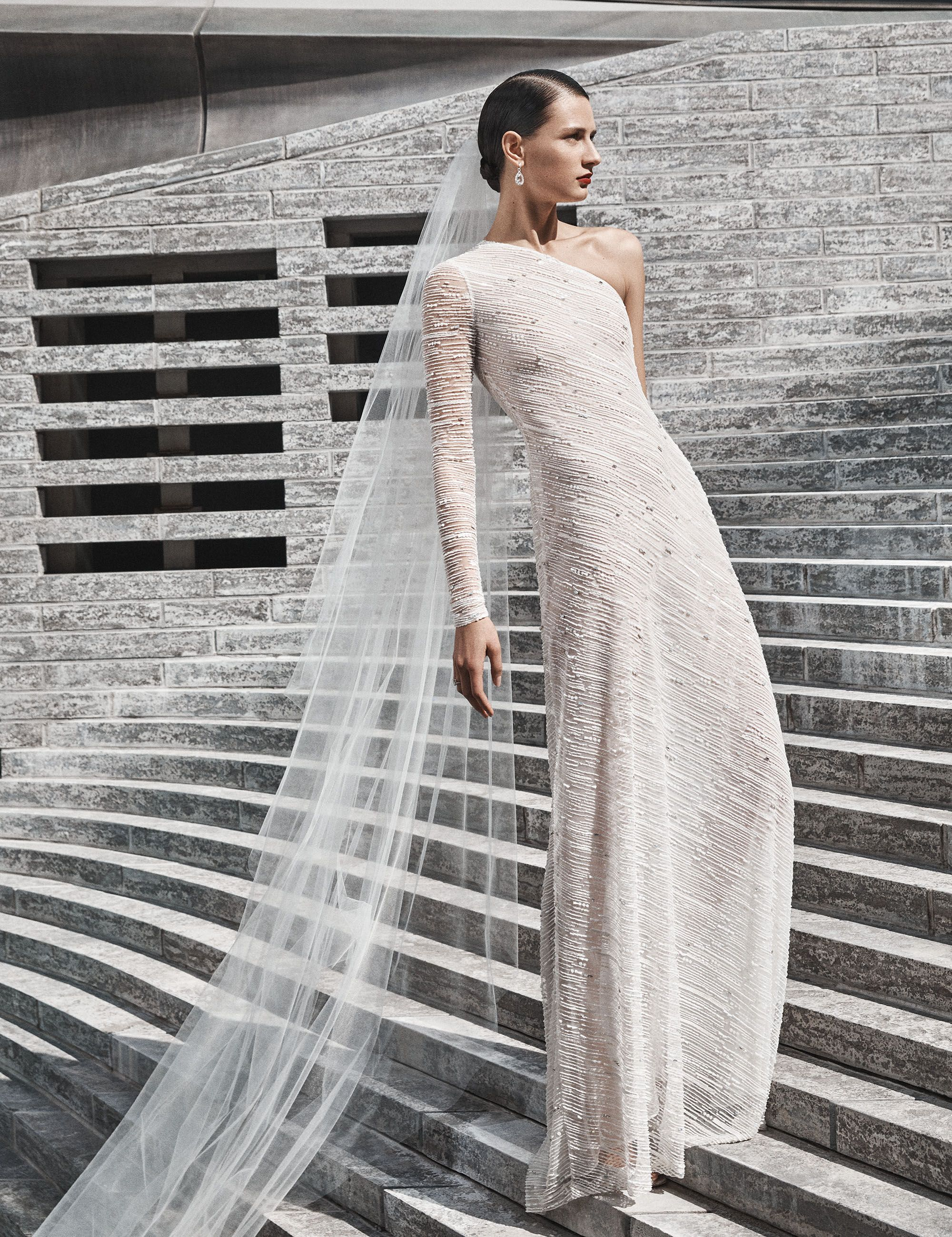 Asymmetrical wedding dress with sleeves x men south africa polyester
