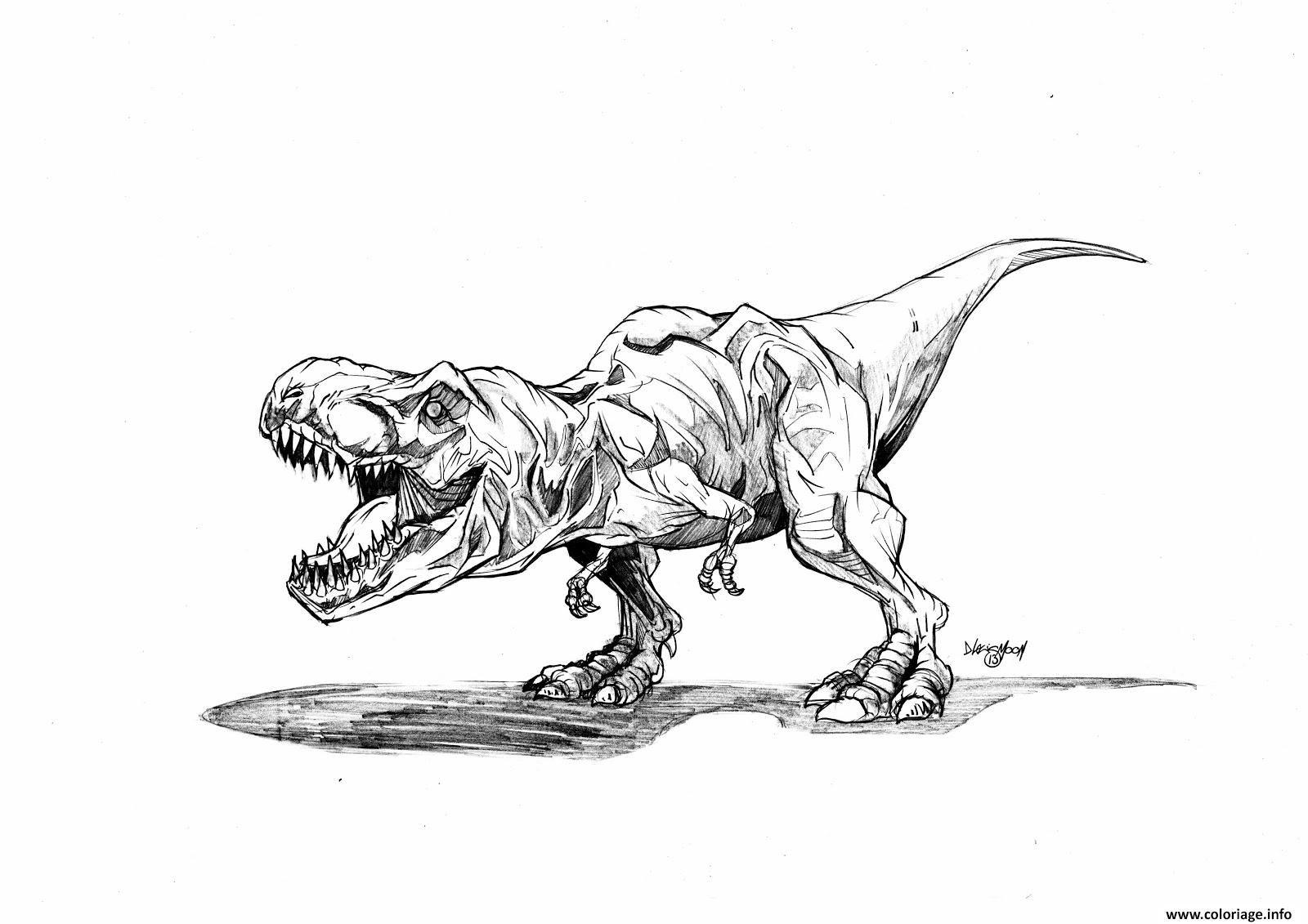 Coloriage jurassic park trex dessin dessin de tyrannosaure rex l enfants - Tyrannosaure a colorier ...