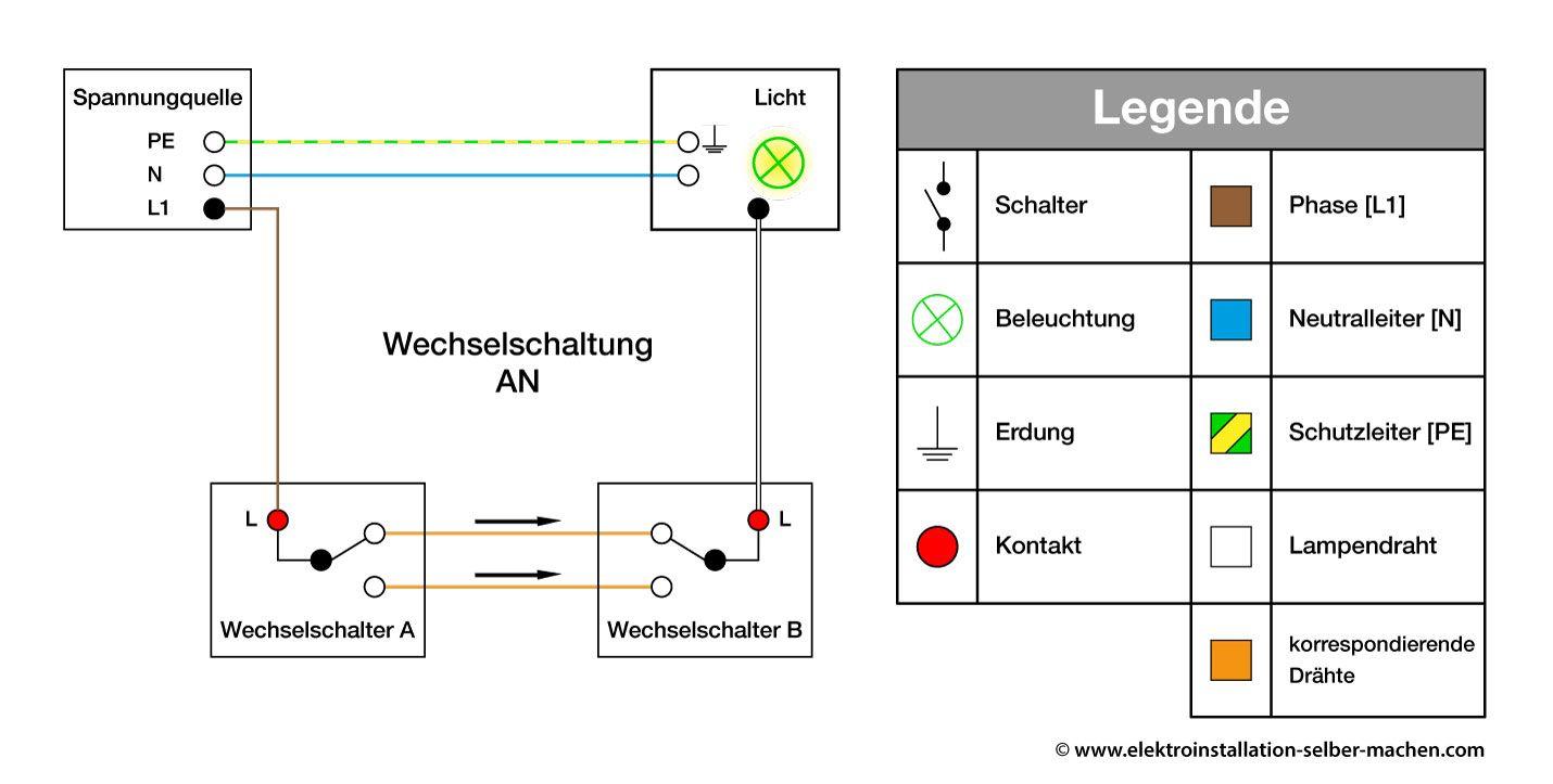 Elektroinstallation, Wechselschalter AN, Schaltplan, Ratgeber ...