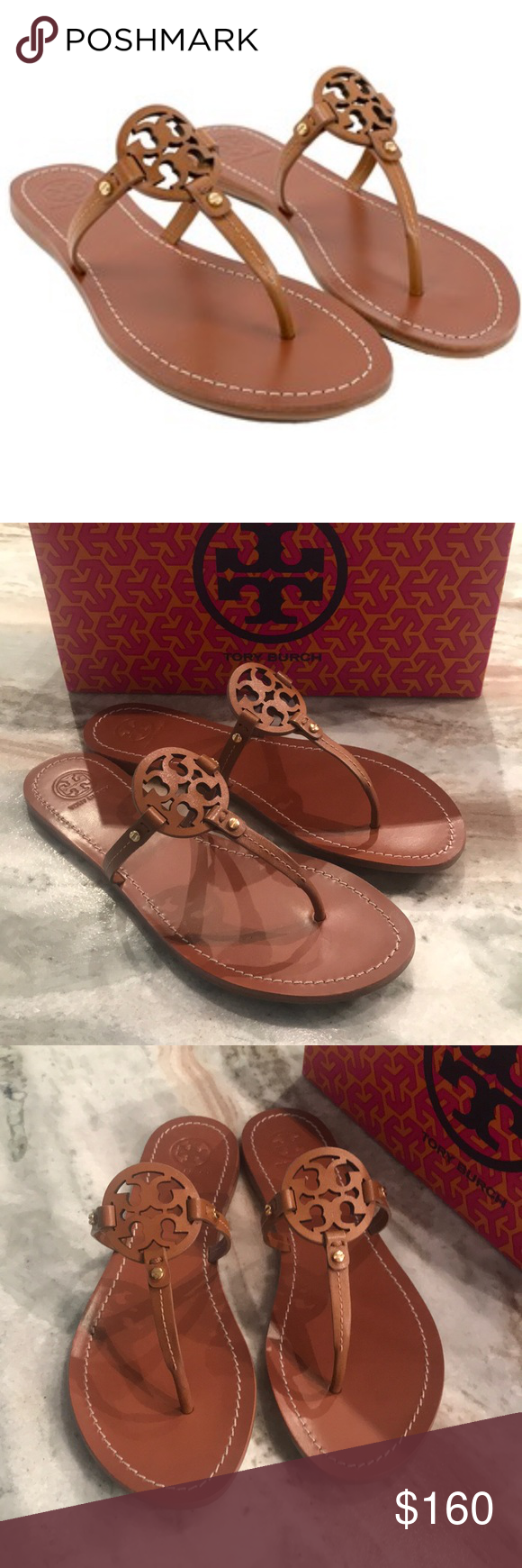 a199f10ba981 NIB TORY BURCH MINI MILLER SANDALS ROYAL TAN sz 9 AUTHENTIC AND BRAND NEW IN  BOX