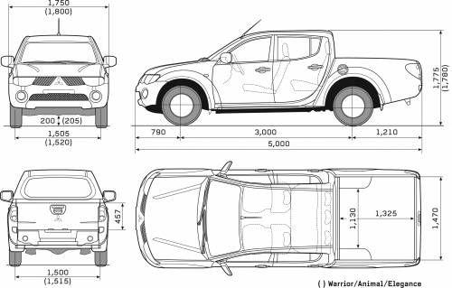 Mitsubishi L200 Double Cab Mitsubishi Mitsubishi Pickup Blueprints