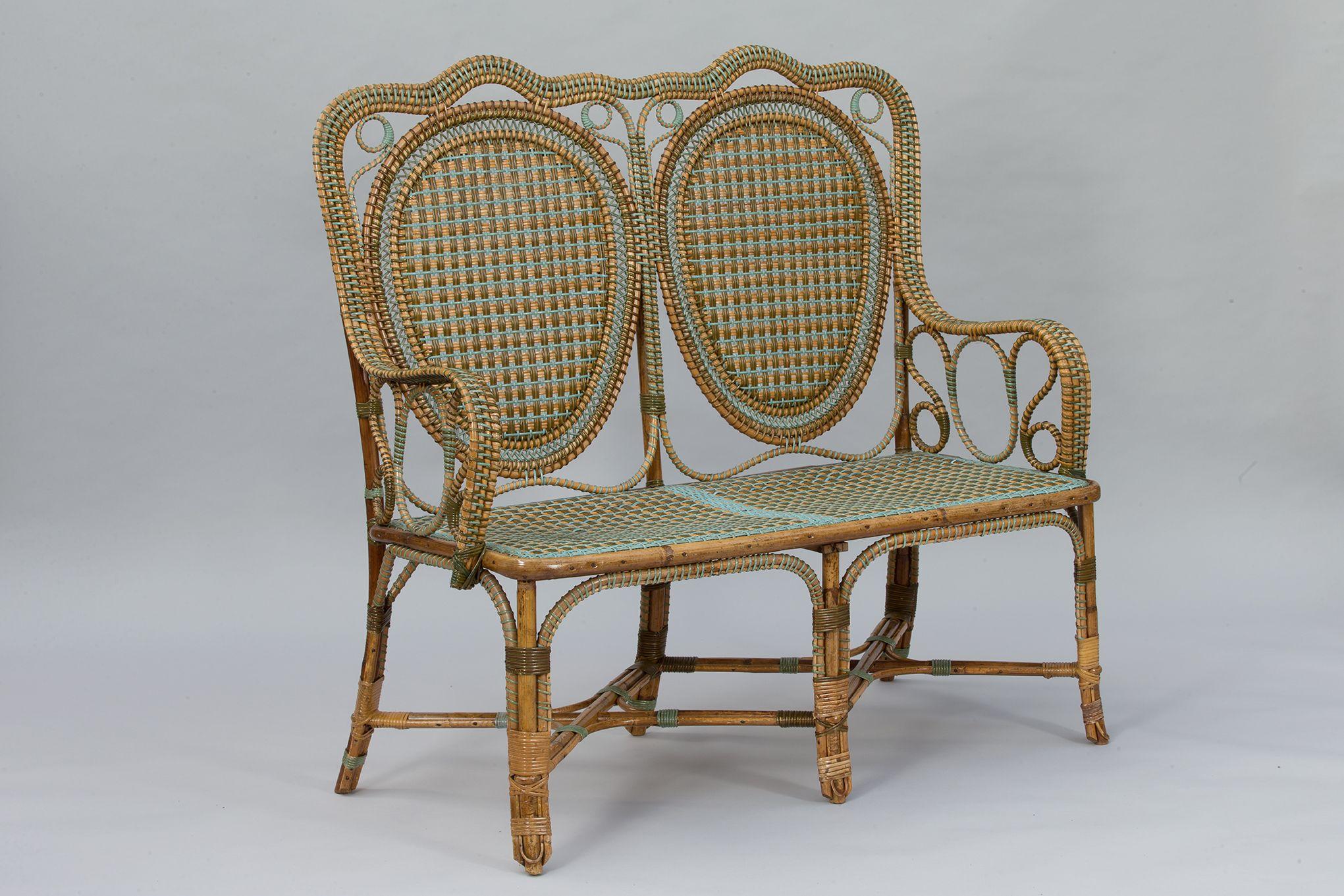 Galerie Vauclair Banquette Perret Vibert Lames Plates Bleu Mobilier Vintage Rotin Conservatorygreenhouse Wicker Furniture Rattan Sofa Rattan Furniture