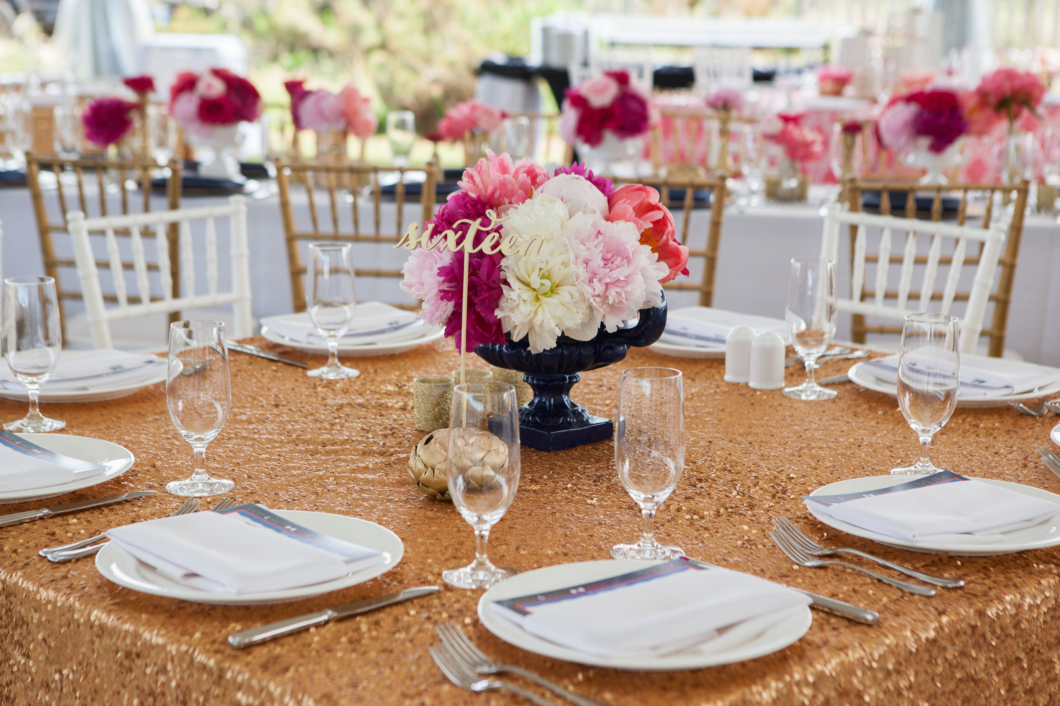 Wedding Table Linen Ideas Part - 30: Gold Sequins Tablecloth With Pink Peony Arrangements