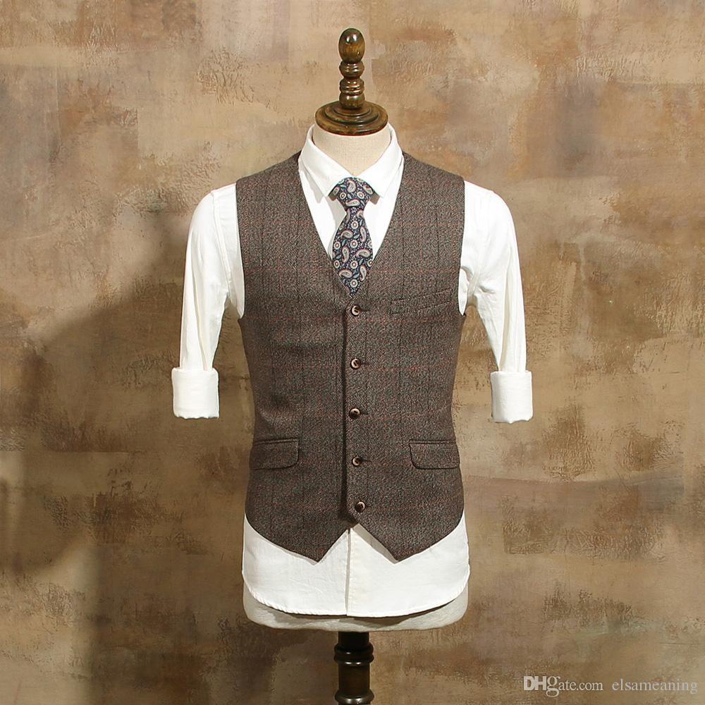 Bräutigam vintage-stil großhandel  vintage brown tweed weste wolle herringbone
