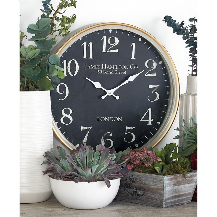 Decmode Contemporary Iron London Inspired Vintage Round Wall Clock Clocks