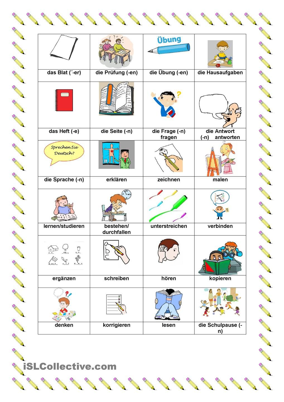 In der Schule | Wortschatz, Schule und Bilder