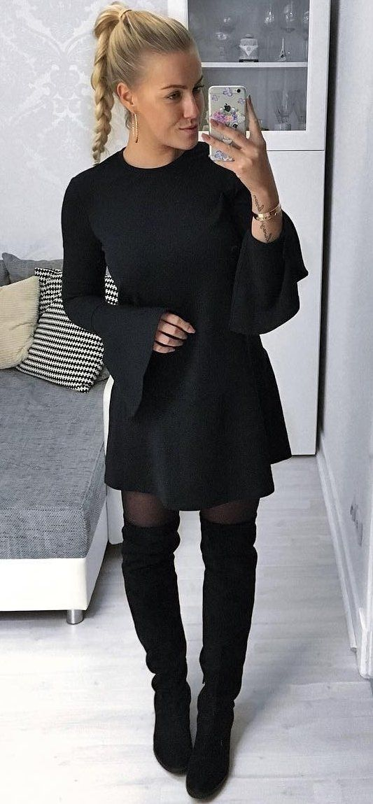 fb85f6d9db4 Black Dress + Black Tigh+ Black Velvet Over The Knee Boots