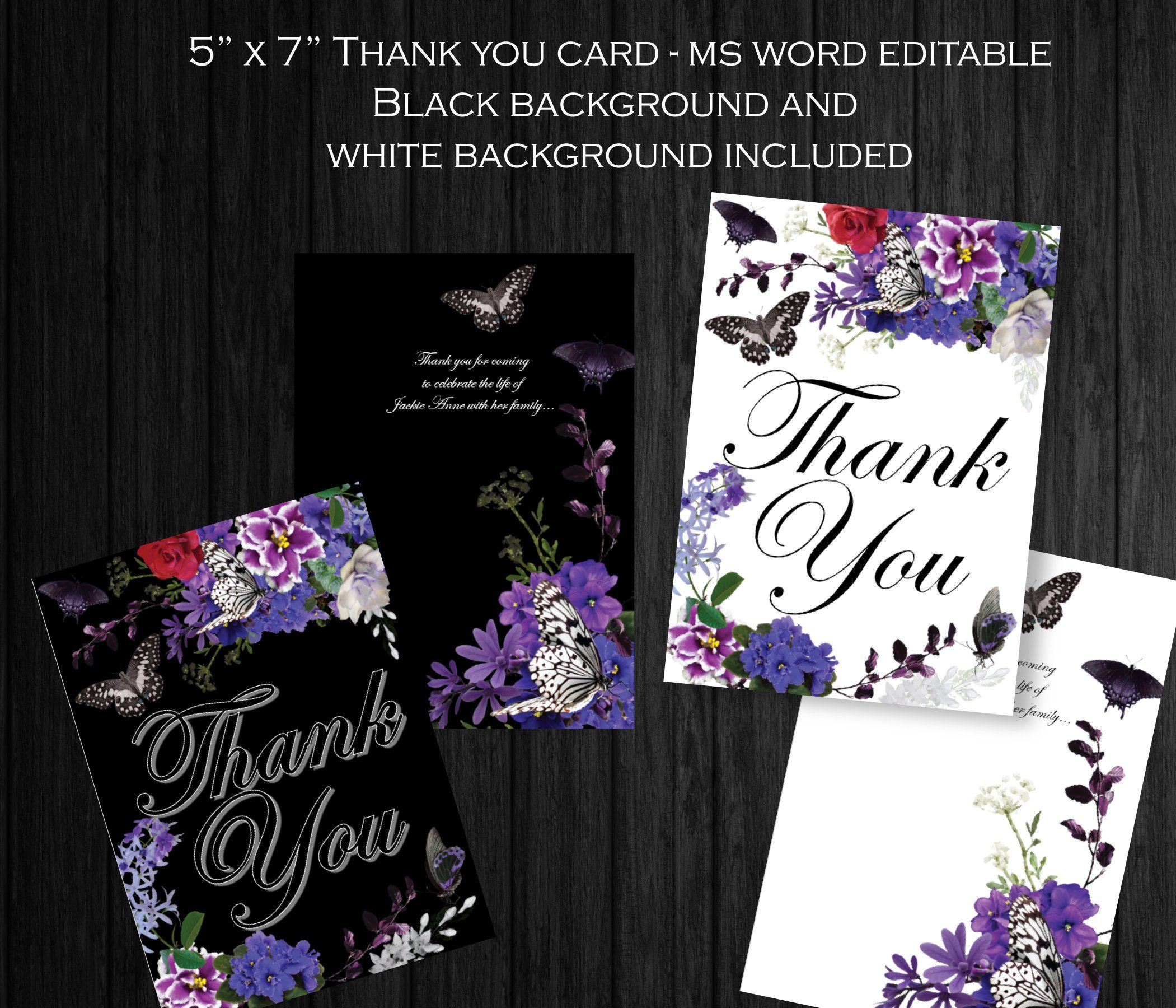 Printable Funeral Thank You Card 5x7 Memorial Thank You Editable Text Ms Word African V Funeral Thank You Cards Funeral Thank You Funeral Program Template