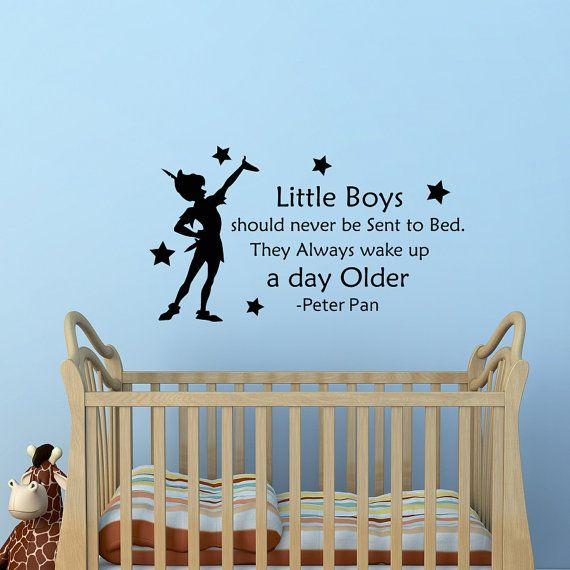 Superior Peter Pan Wall Decal Quote Little Boys Should Never Be Sent To Bed Wall  Decals Vinyl Stickers Kids Playroom Bedroom Nursery Home Decor Approximate
