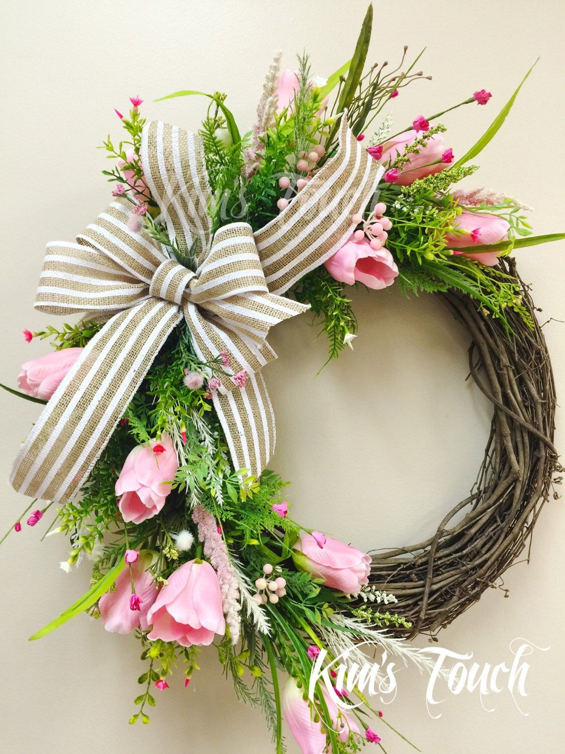 A personal favorite from my Etsy shop https://www.etsy.com/listing/286117299/tulip-wreathspring-wreathpink-spring